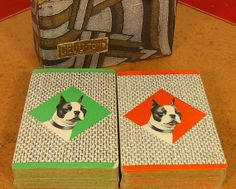 Vintage Cel-U-Tone Playing Cards Set of 2 Decks - Retro Boston Terrier Orange & Green Design - Upcycling Repurposing Scrap Booking