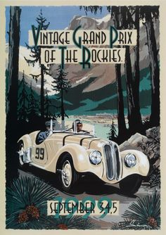 Vintage Grand Prix of the Rockies Racing Poster, BMW 328. by © Dennis Simon. This poster is available at centuryofspeed.com