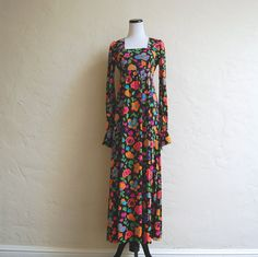Butterfly Garden Vintage 1970s Psychedelic Maxi by LolaAndBlack, $28.00