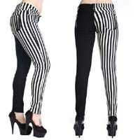 White & Black Striped Split Skinny Jeans by Banned Apparel - sz 28, 36 only