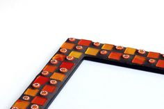 30% OFF SALE Orange dominoes - Mosaic photo frame 5x7in (13x18cm)
