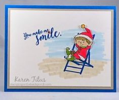 cute elfie card stampin up Unique Cards, Cool Cards, Handmade Birthday Cards, Greeting Cards Handmade, Holiday Cards, Christmas Cards, Christmas Holiday, Snowflake Cards, Snowflakes