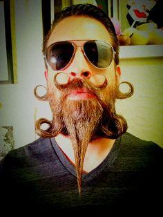Crazy fashionable beard design! Beard titled The Evil Cumberbund. Hair art if fun!