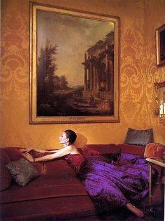 Vicomtesse Jacqueline de Ribes in one of her own designs in her Paris apartment, photo by Victor Skrebneski, 1983