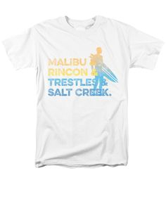 Malibu T-Shirt featuring the digital art Malibu And Rincon And Trestles And Salt Creek by SoCal Brand