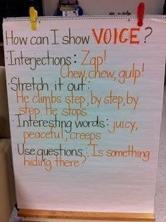 Voice anchor chart for voice. Two Tacky Teachers 6 Traits Of Writing, Narrative Writing, Informational Writing, Persuasive Writing, Writing Workshop, Teaching Writing, Writing Activities, Writing Strategies, Writing Lab