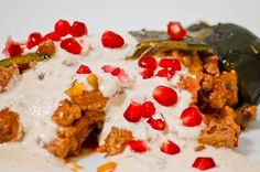 Stuffed Poblano Peppers with ground beef, walnut queso and pomegranate seeds