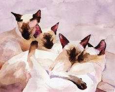 PRINT-Siamese-Cat-Painting-Art-Lilac-Family