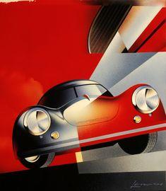 Porsche 356 poster Such pretty colours! from dear musketeer sweet ride Porsche Art Deco Posters, Car Posters, Vintage Posters, Vintage Racing, Vintage Cars, Fiat 500, Automobile, Porsche 356 Speedster, Golf 2