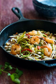 "Zucchini noodle ""Pad Thai"" that's healthy and satisfying on @whiteonrice"