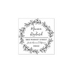 Custom Botanical Wreath Wedding Return Address Rubber Stamp - calligraphy gifts custom personalize diy create your own Wedding Name, Wedding Logos, Custom Rubber Stamps, Gift Labels, Wood Stamp, Botanical Wedding, Self Inking Stamps, Ink Pads, Return Address