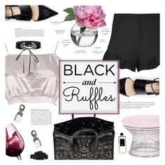 """Black + Ruffles"" by chocohearts08 ❤ liked on Polyvore featuring Yves Saint Laurent, Elizabeth and James, River Island, Anja, Diane James, Rove Concepts, Eddie Borgo, Serge Lutens and ruffles"