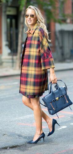 http://www.theclassycubicle.com/2014/09/nyfw-mad-plaid.html | thom browne's black fleece red, blue and yellow tartan plaid coat, phillip lim bag + navy jimmy choo pumps | new york fashion week street style #ss15 #nyfw