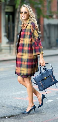 http://www.theclassycubicle.com/2014/09/nyfw-mad-plaid.html | thom browne's black fleece red, blue and yellow tartan plaid coat, phillip lim bag + navy jimmy choo pumps | new york fashion week street style #ss15 #nyfw