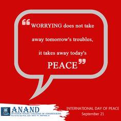 International Day of Peace  #internationaldayofpeace  www.anandice.ac.in