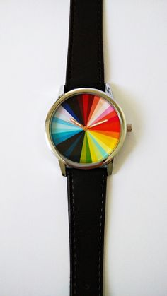 Color Wheel Watch Vintage Style Leather Watch Mens by FreeForme