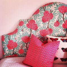 Love this mint turquoise and coral floral headboard by caitlin wilson textiles