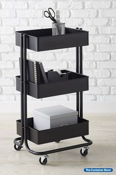 Whenever you need a little extra storage in a small space, our metal 3-Tier Rolling Cart is ready to roll. Its slender dimensions make it easy to slide into a home office, pantry, laundry room or bath. Three tiers give you room to organize. Mesh bottoms provide ventilation. Whether you're sorting toys, craft supplies, towels, hair accessories, nursery supplies or makeup, this sleek rolling cart makes the most of tight spaces. Nursery Supplies, Craft Supplies, Small Space Organization, Kitchen Cart, Extra Storage, Home Office, Small Spaces, Sorting, Laundry Room