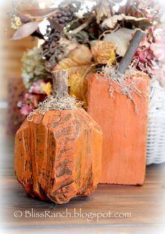 Bliss Ranch: Landscape Timber Pumpkins and Wood Candy Corn