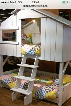 """Add the front facade to existing bunk bed Mathy by Bols """"House bunk bed"""" Kid Beds, Bunk Beds, Tree House Bunk Bed, Youth Rooms, Shelter Tent, Bunk Bed Designs, Girls Bedroom, Childrens Bedroom, Bedroom Ideas"""