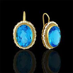 Oval Blue Topaz Wire Back Earrings 14K Yellow Gold $519 #orospot #14K #gold #blue #topaz #earrings #jewelry #vintage