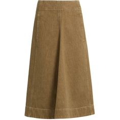 Lemaire A-line denim skirt ($420) ❤ liked on Polyvore featuring skirts, khaki, calf length denim skirts, a line midi skirt, khaki skirt, knee length denim skirt and brown skirt