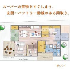 「madree(マドリー)は、プロの建築家・デザイナーに、自宅にいながらスマホやパソコンから間取り図の作成を依頼できるサービスです。気に入った間取りができたら、住宅会社も紹介してくれます。今回は「 スーパーの荷物をすぐしまう、玄関〜パントリー動線のある間取り。」をご紹介します。 House Layout Plans, House Layouts, House Plans, Bookshelves Kids, Japanese House, Japanese Design, Home Projects, Architecture Design, Home Goods