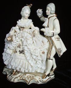 German Dresden Lace Victorian Couple Lady Gent Figurine Figure Germany | eBay