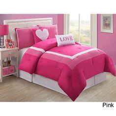 Children's Bedding/Comforter: Twin VCNY Hotel Juvi Pink Love Comforter Set #VCNY