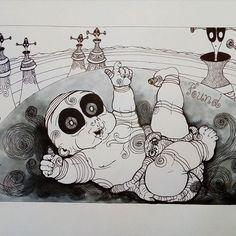 Inktober day 30 - Found - #inktober #inktober2017 #inktoberday30 #inktoberprompts #ink #penandink #brushandink #brushpen #copic  #koibrushpen #found #character #comic #southafricanartist #southafrican #southafrica #artist #artistoninstagram #art #illustration #dailysketch #drawingink  #give #share #love #cartoon #baby #alien #alienplanet Alien Planet, South African Artists, Brush Pen, Copic, Inktober, Snoopy, Cartoon, Photo And Video, Drawings