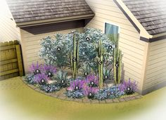 I think I might be daring and try this! Desert Gardening Corner Garden Bed – Lowe's Creative Ideas Desert Landscaping Backyard, Texas Landscaping, Stone Landscaping, Landscaping Plants, Front Yard Landscaping, Desert Gardening, Corner Landscaping Ideas, Backyard Ideas, Organic Gardening