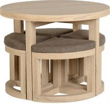 Ronda de ahorro de espacio Mesa de comedor y 4 Sillas de Cocina Hogar Muebles De…