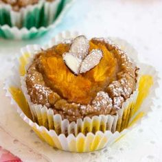 Mango muffins with gluten free almond flour, fruit, coconut flour, ginger, stevia. South Beach Diet, Weight Watchers, Paleo protein muffin recipe.