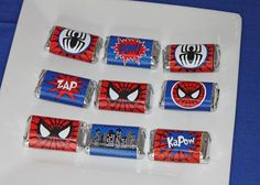 Spiderman Birthday Party mini candy bar wrappers favors spiders #spiderman #amazingspiderman #spidermanbirthday