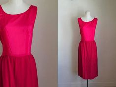 vintage 1960s dress - FUSCHIA wiggle dress / M (as is)