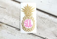 Pineapple Monogram Decal Preppy Southern Monogram by OopsieDaysi Preppy Stickers, Monogram Stickers, Car Stickers, Car Decals, Vinyl Decals, Custom Decals, Custom Stickers, Pineapple Monogram, Charms