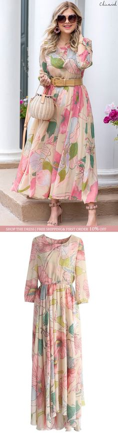 Dress Floral Maxi Beautiful Ideas For 2019 Trendy Dresses, Casual Dresses, Maxi Dresses, Modest Fashion, Fashion Dresses, Floral Fashion, Fashion Clothes, The Cardigans, Tiered Dress