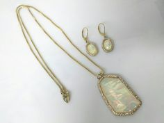 Avon Large Opalesque Pendant and  pierced by LucyLucyLemon on Etsy