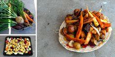 Ovnsbakte grønnsaker.  Ferske grønnsaker rett fra jorden trenger nesten ikke krydder. De er naturlige smaksbomber!