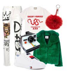 🤪 by latipovasvetlana on Polyvore featuring polyvore, fashion, style, Gucci, MSGM, Dolce&Gabbana, Tommy Hilfiger, Fendi, Polaroid and clothing