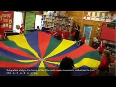 """Star Wars Musical Form + Parachute // Students explore the musical form (Extended Ternary) of the theme to """"Star Wars"""" and create contrasting movements with a parachute. Video example of gr. Adapt for Star Wars Day in October? Kindergarten Music, Preschool Music, Teaching Music, Movement Activities, Music Activities, Music Lesson Plans, Music Lessons, Buskers Festival, Star Wars Music"""