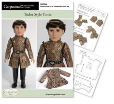"Tudor Medieval period tunic for 18"" Carpatina Boy Dolls with instructions for sizing it for American Girl dolls, PDF file to download by CARPATINA on Etsy https://www.etsy.com/listing/53431660/tudor-medieval-period-tunic-for-18"