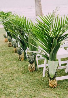 Highlight a tropical wedding theme with these pineapple and palm leaf aisle accents. - Highlight a tropical wedding theme with these pineapple and palm leaf aisle acce. Tropical Wedding Reception, Palm Wedding, Wedding Aisle Decorations, Wedding Ceremony Decorations, Hawaii Wedding, Wedding Flowers, Wedding Beach, Beach Weddings, Destination Weddings