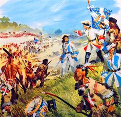 French general Montcalm leading the French army and allied Indian warriors in battle in North America, Seven Years War