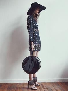 1980's Bonnie Boerer 'NWT' black studded silk jacket / 1980's studded leather belt / 1960's black patent leather hat box / Stuart Weitzman fringed heels / Preston & Olivia hat