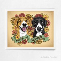 This listing is for a custom stylized pet portrait illustration and high quality print. 1) Choose your print size 2) Place your order here 3) Send the followin