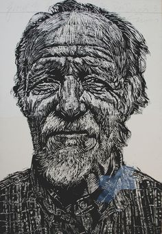 "Neil Shigley. A block print, possibly woodcut? Large scale portraits of ""interesting characters"" on the streets."