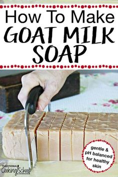 How To Make Goat Milk Soap Homemade goat milk soap has many skin nourishing benefits. This DIY recipe will show you how to make this skin soothing soap at home allowing you to add whatever scents you love! Soap Making Recipes, Homemade Soap Recipes, Homemade Products, Easy Recipes, Goat Milk Recipes, Lye Soap, Castile Soap, Glycerin Soap, Soap Molds