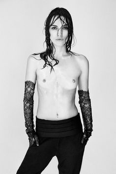 Keira Knightley poses topless only on the condition that the photo is not digitally enhanced. What an inspiring stand against cookie-cutter body standards and puritanical shame! All people are most beautiful in their most natural state.