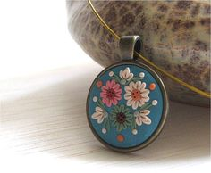Turquoise Floral Necklace Cabochon Necklace Blue by Floraljewel
